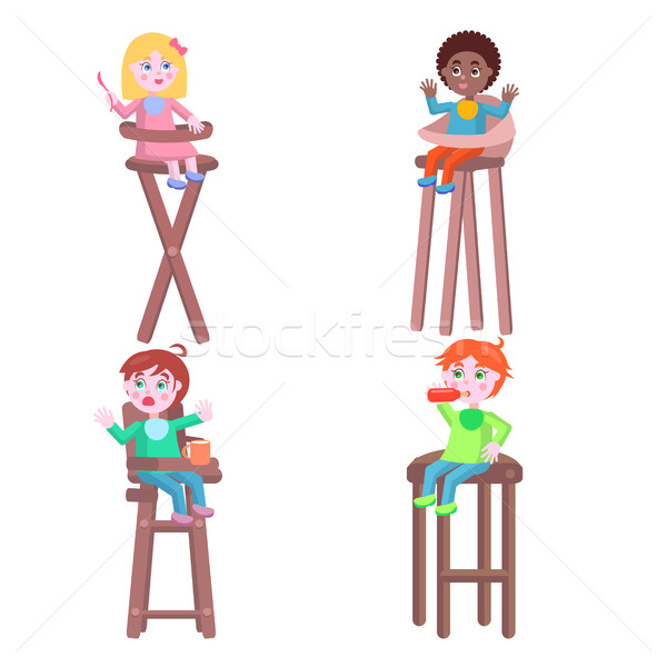 Toddlers on Children High Chairs Flat Vector Stock photo © robuart