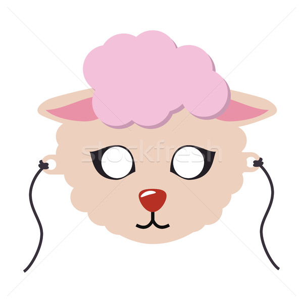 Sheep Animal Carnival Mask. Cute Wooly Lamb Vector Stock photo © robuart