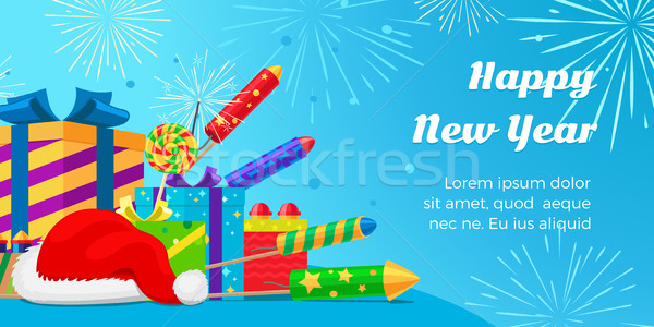 Happy New Year 2017. Set of Fireworks, Gift Boxes. Stock photo © robuart