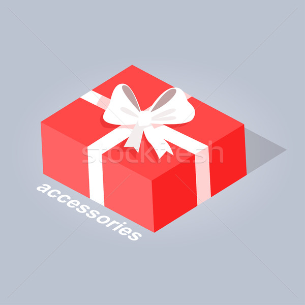 Gift with White Ribbon and Bow Flat Design Vector Stock photo © robuart