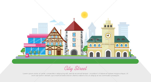 City Street In Sunny Day Flat Vector Banner Stock photo © robuart
