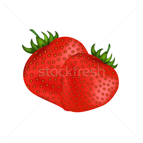 Ripe Fresh Red Strawberries Isolated on White Stock photo © robuart