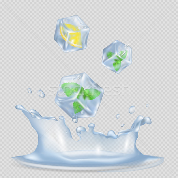 Ice Cubes with Mint Leaves and Lemon Illustration Stock photo © robuart