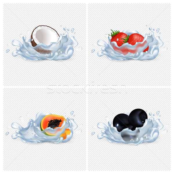 Coconut, Strawberry, Papaya, Blackberry in Water Stock photo © robuart