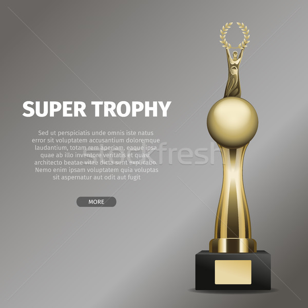 Gold Super Trophy with Person Holds Laurel Wreath Stock photo © robuart