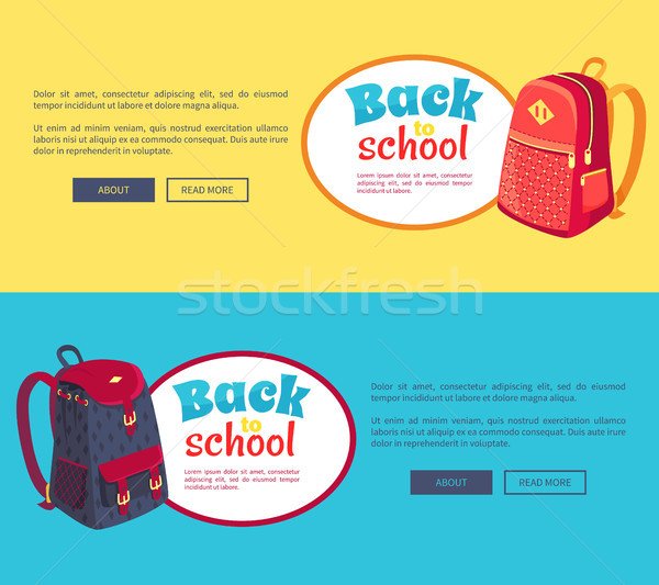 Back to School Posters with Fashionable Backpack Stock photo © robuart