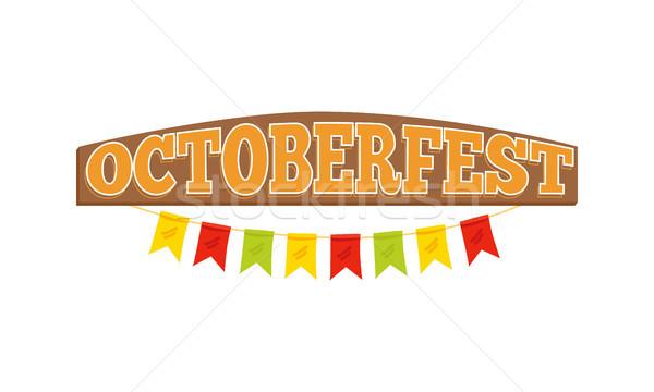 Oktoberfest kleurrijk opschrift vlaggen geïsoleerd Stockfoto © robuart