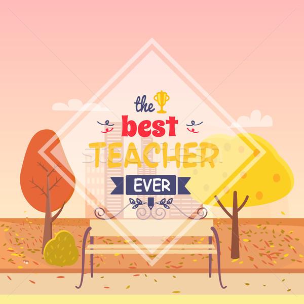 Best Teacher Ever Postcard Vector Illustration Stock photo © robuart