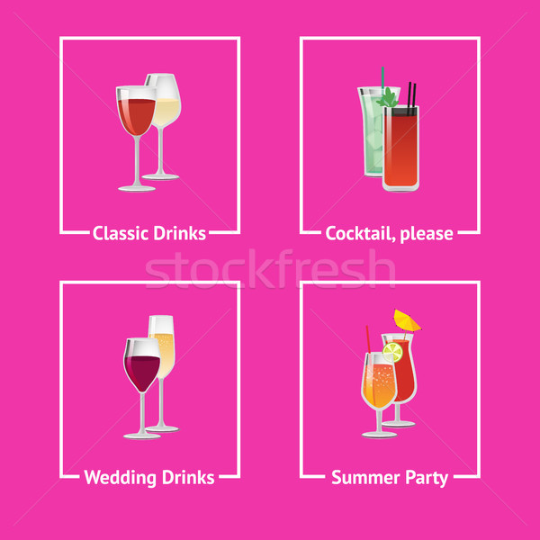 Foto stock: álcool · bebidas · cocktails · casamento · festa · clássico