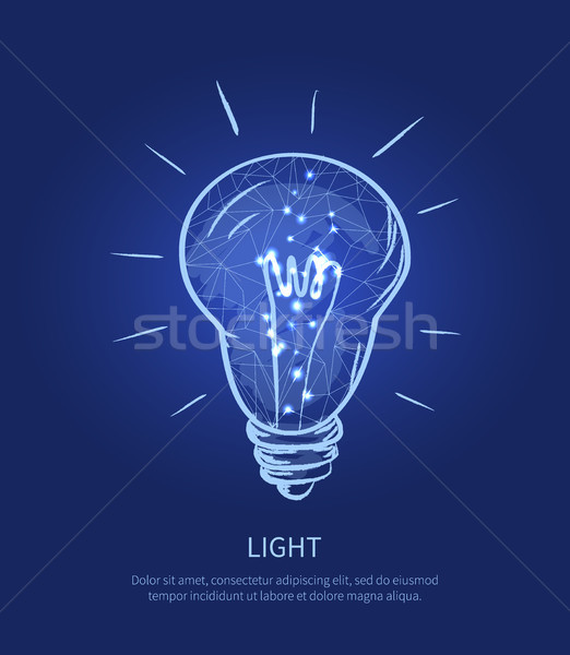 Light Electric Bulb and Text Vector Illustration Stock photo © robuart