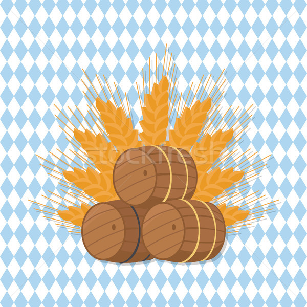 Stock photo: Vector Illustration of Beer Barrels at Octoberfest