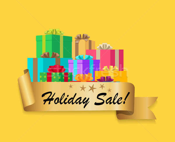 Five Star Holiday Sale Gold Ribbon Gift Boxes Stock photo © robuart