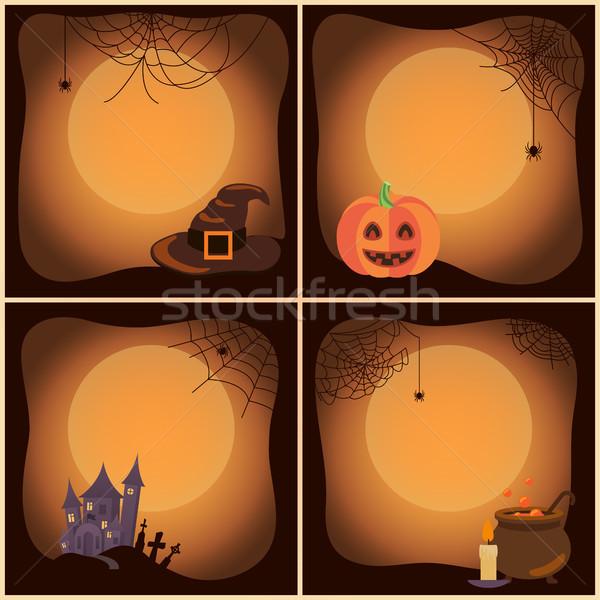 Halloween Set of Posters on Vector Illustration Stock photo © robuart