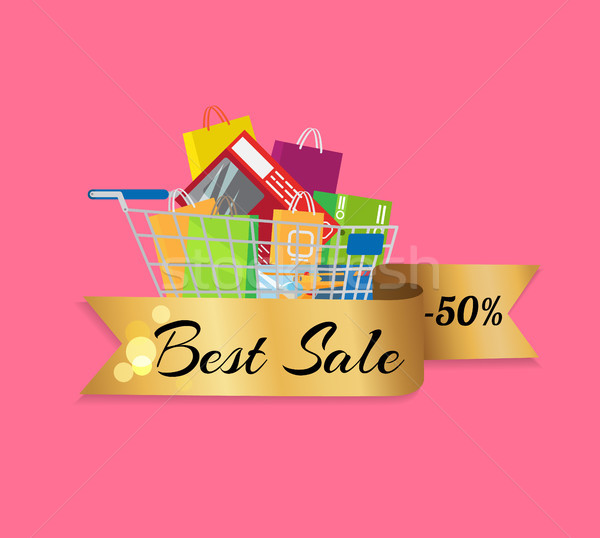 Best Sale 50 Off Banner Cart Full of Shopping Bags Stock photo © robuart