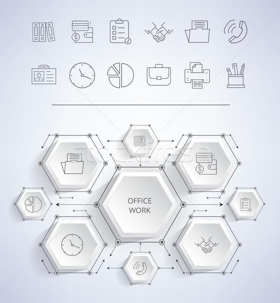 Ofis işleri simgeler saat turta diyagram Stok fotoğraf © robuart