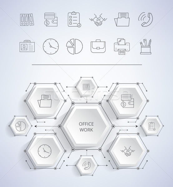Irodai munka infografika ikonok óra pite diagram Stock fotó © robuart