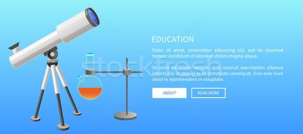 Education Web Banner Telescope and Metal Retort Stock photo © robuart
