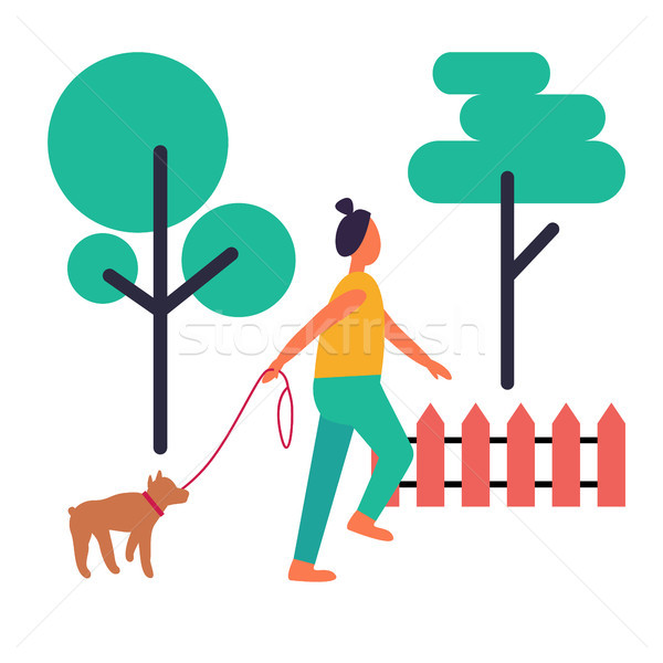 Adult Woman Walking Her Dog Isolated Illustration Stock photo © robuart
