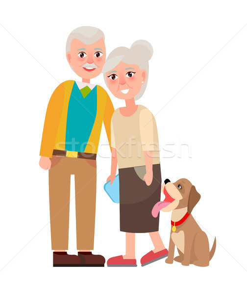 Grandmother and Grandfather with Pet Isolated Stock photo © robuart