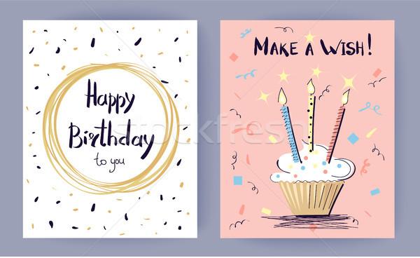 Boldog születésnapot gyártmány kívánság színes poszter torta Stock fotó © robuart