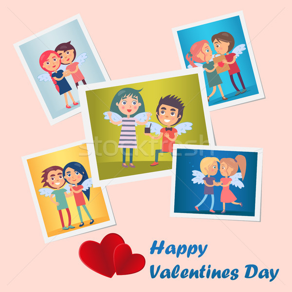 Set of Bright Cute Happy Valentines Day Postcards Stock photo © robuart