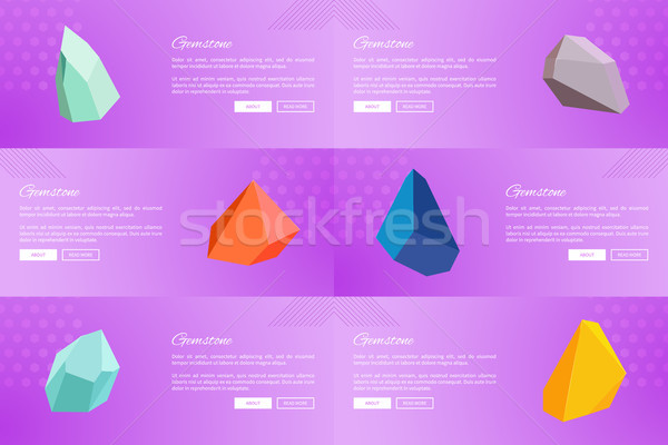 Set of Web Posters Gemstones Webpages Ppush Button Stock photo © robuart