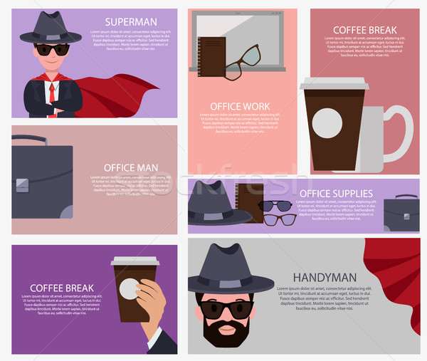 Coffee Break and Superman Set Vector Illustration Stock photo © robuart