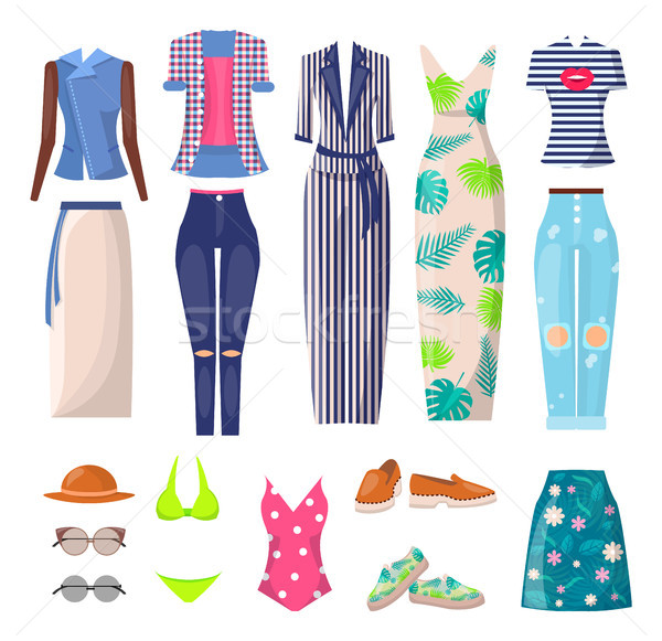 Summer Mode Clothing Set, Vector Illustration Stock photo © robuart