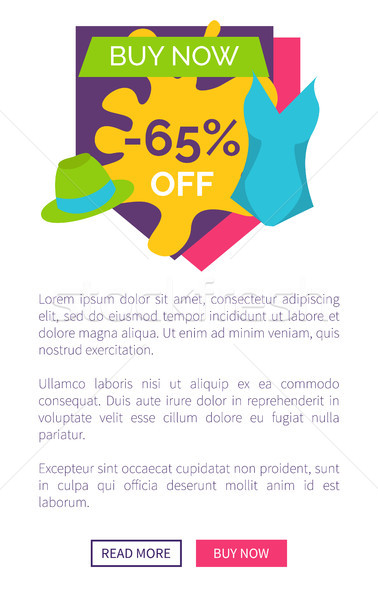 Buy Now 65 Off Promo Poster Push Buttons Vector Stock photo © robuart