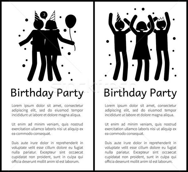 Birthday Party Banners with People Silhouettes Stock photo © robuart