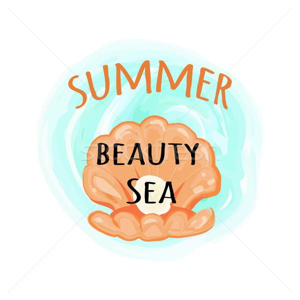 Summer Sea Beauty Poster with Open Seashell Stock photo © robuart
