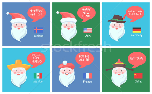 Santa Clauses from All Over World Festive Posters Stock photo © robuart