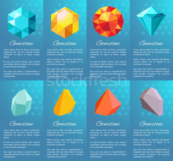 Gemstone Collection of Posters Vector Illustration Stock photo © robuart