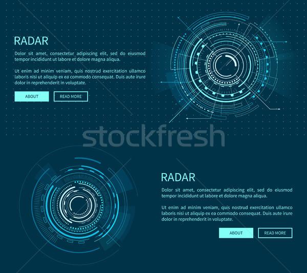Stockfoto: Radar · lay-out · veel · twee · meetkundig · patronen