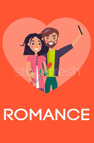 Romans para miłości serca smartphone Zdjęcia stock © robuart