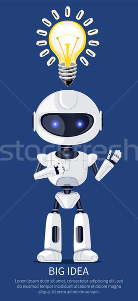 Big Idea Robot and Bulb Poster Vector Illustration Stock photo © robuart