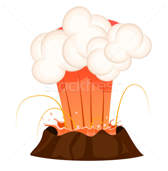 Strong Jet of Effluent Hot Lava, White Clouds Stock photo © robuart