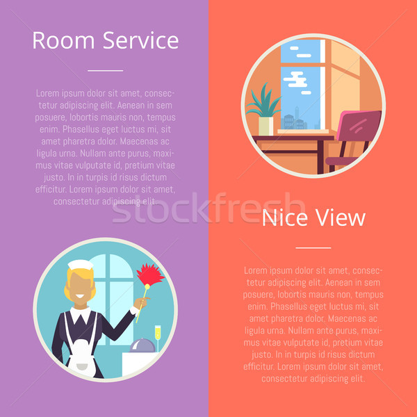 Room Service and Nice View Vector Illustration Stock photo © robuart
