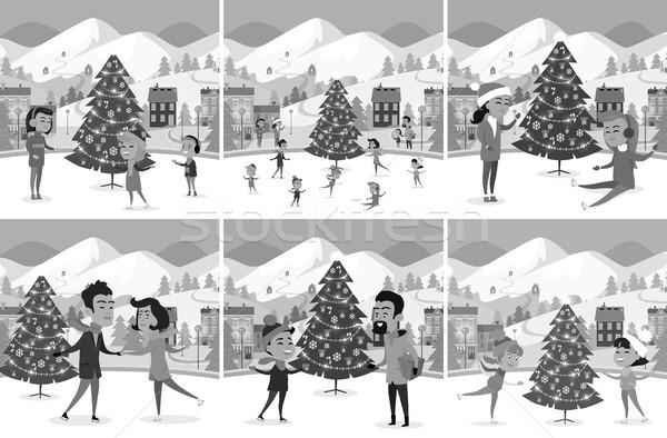 Monochrome Set of Happy People Ice-skating on Rink Stock photo © robuart
