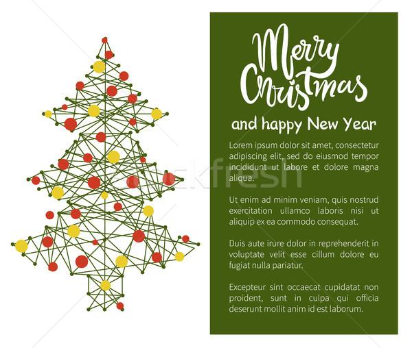 ストックフォト: 陽気な · クリスマス · 明けましておめでとうございます · ポスター · ツリー · 抽象的な