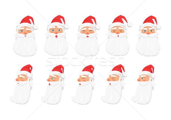 Zestaw inny emocje biały starych Święty mikołaj Zdjęcia stock © robuart