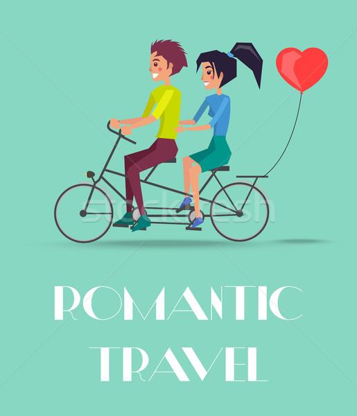 Romantik seyahat vektör çift binicilik ikiz Stok fotoğraf © robuart