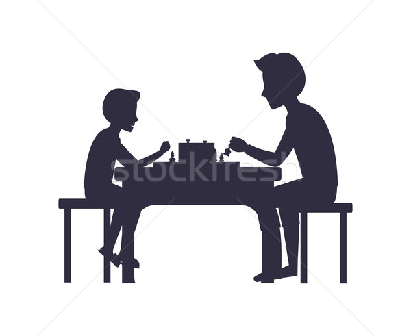 Father and Son Playing Chess Sit on Chairs Table Stock photo © robuart