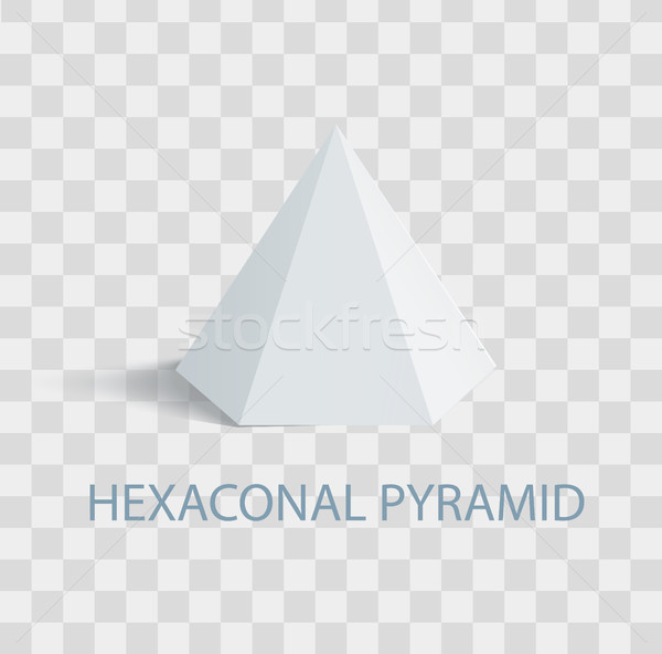 Hexaconal Pyramid Geometric Shape in White Color Stock photo © robuart