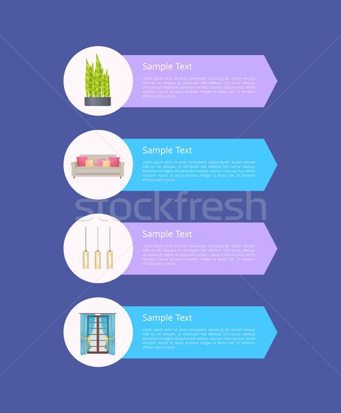 Moderna diseno interior elementos muestra texto bambú Foto stock © robuart