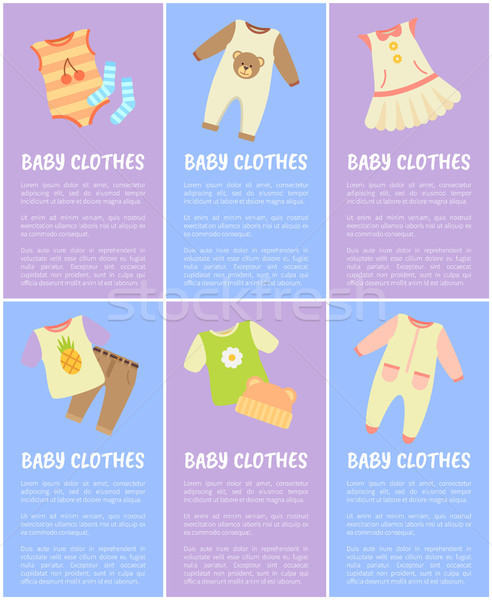 Baby Clothes, Set of Six Vector Colorful Posters Stock photo © robuart