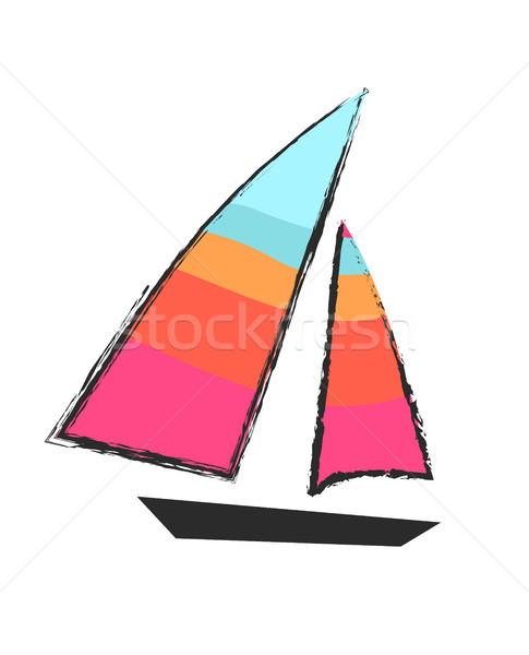 Sailboat Closeup Isolated Colorful Icon on White Stock photo © robuart
