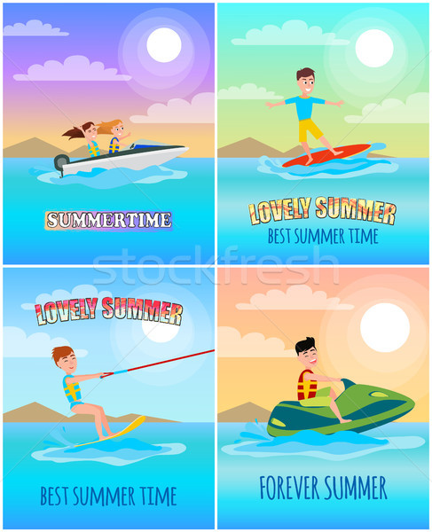 Zomertijd banners collectie sport surfen spelevaren Stockfoto © robuart