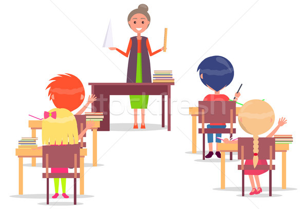 ABC Lesson in Primary School. Children Sit at Desk Stock photo © robuart