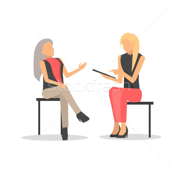 Closeup of Women Discussing Vector Illustration Stock photo © robuart